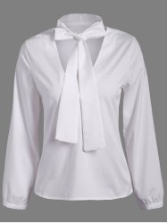 Pussy Bow Long Sleeves Blouse - WHITE 2XL