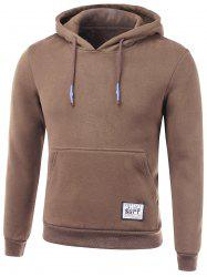 Drawstring Applique Hooded Long Sleeve Hoodie