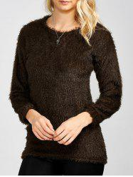 Drop Shoulder Long Fuzzy Sweater -