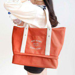 Snaps Canvas Letter Print Shoulder Bag