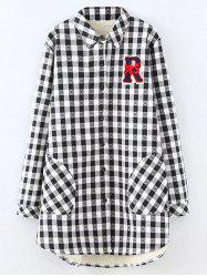 Plus Size Plaid Fleece Shirt Jacket - WHITE