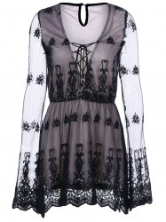 See Thru Lace Up Dress -