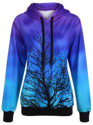 Ombre Color Tree Pullover Hoodie - PURPLE