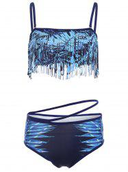 Spaghetti Strap Fringed Leaves Print Bikini Set - PURPLISH BLUE XL