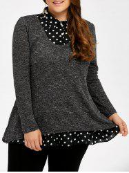 Plus Size Polka Dot Insert Sweater - Gris