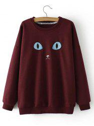 Plus Size Cat Embroidery Sweatshirt - BURGUNDY