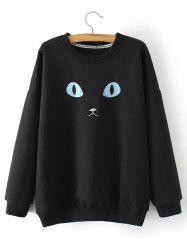 Plus Size Cat Embroidery Sweatshirt - BLACK