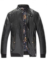Zippered Rib Cuff Pocket Faux Leather Padded Jacket