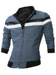 Double Sided Wear Paneled Faux Leather Zip Up Jacket