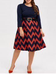 Long Sleeve Plus Size Midi Chevron Print Dress