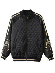 Slim Crane Embroidered Argyle Quilte Bomber Jacket