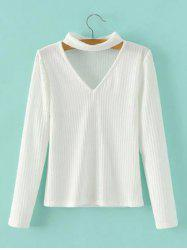 Keyhole Neck Pullover Ribbed Sweater -