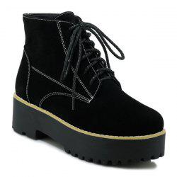 Platform Tie Up Round Toe Ankle Boots