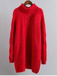 Cable Knit Mini Polo Neck Jumper Dress - RED