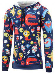 Cartoon Print Pocket Front Pullover Hoodie -
