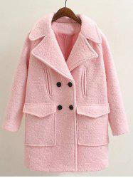 Long Double Breasted Wool Coat - PINK L