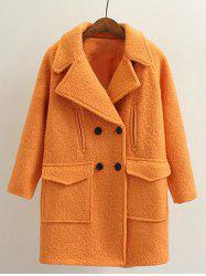 Long Double Breasted Wool Coat -