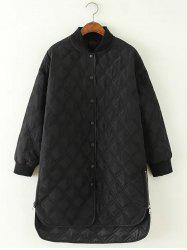 High Low Long Winter Argyle Padded Coat Jacket