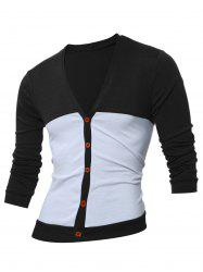 V Neck Button Up Two Tone Cardigan -
