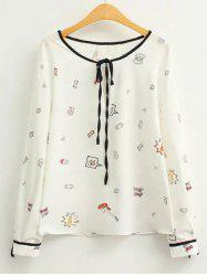 Long Sleeve Cartoon Printed Blouse -