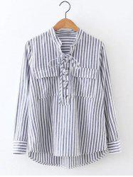 Striped High Low Lace Up Shirt - GRAY L
