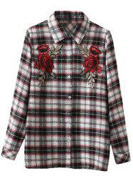 Embroidered Plaid Long Sleeve Shirt -