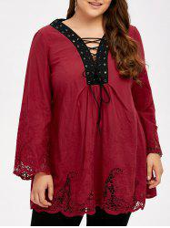 Plus Size Hollow Out Lace Up Blouse