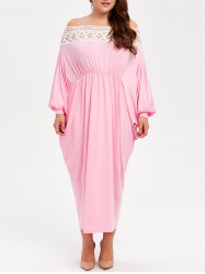 Off The Shoulder Lace Spliced Maxi Plus Size Dress
