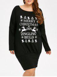 Plus Size Christmas Print Graphic T-Shirt Dress