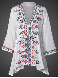 Plunging Neck Embroidered Flare Sleeve Top -
