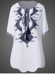 Scoop Neck Embroidered Tunic Dress -
