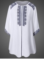 Embroidered Top With Tassel -