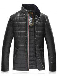 Stand Collar Plus Size PU Leather Zip Up Down Jacket -