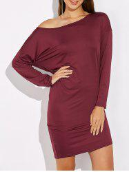 Skew Colllar Batwing Sleeve Dress - BURGUNDY