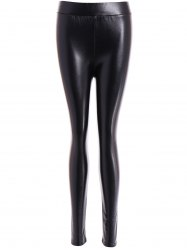 Fleece Slim Fit Faux Leather Leggings -