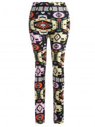 Vintage Maya Geometry Print Slim Pants
