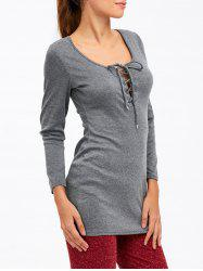 Classic Lace Up Slimming Tee - DEEP GRAY XL