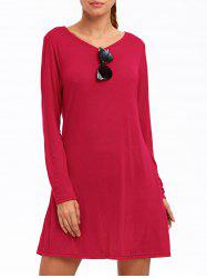 Long Sleeve Plain Casual Dress