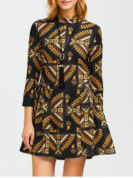 Ornate Print Slimming A Line Dress -