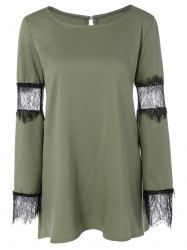Eyelash Lace Paneled Mini T Shirt Dress - ARMY GREEN 2XL
