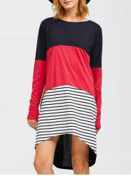 Asymmetrical Striped Contrast Dress