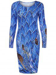 Long Sleeve Fulled Leaves Print Dress -