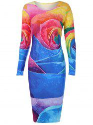 Long Sleeve Colorful Big Rose Print Dress -