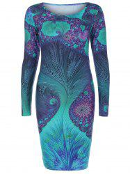 Long Sleeve Sea Vortex Print Dress -
