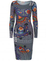 Long Sleeve Creative Doodle Print Bodycon Dress