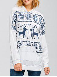Drawstring Moose Fair Isle Hoodie - WHITE XL