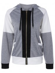 Color Block Zipper Up Hoodie With Pocket