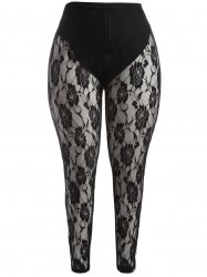 Plus Size Floral Graphic Leggings Dentelle - Noir