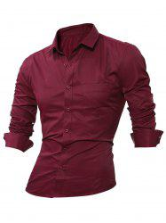 Long Sleeve Chest Pocket Plain Shirt