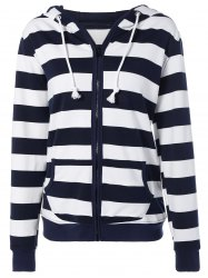 Striped Drawstring Zip Up Hoodie - Bleu Violet L